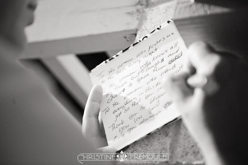 Kelli writing out her vows