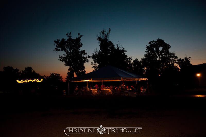 Wedding Reception under Tent at Sunset