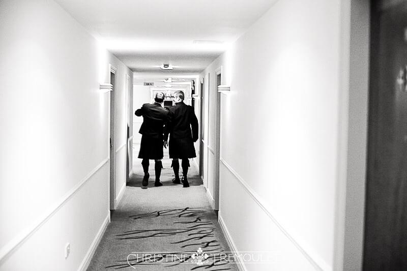 Karl & Dan walking to the wedding ceremony venue