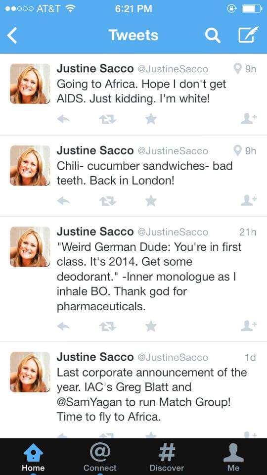 Justine Sacco Twitter Stream