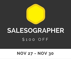 Salesographer Black Friday deal - Save $100 on any membership level or payment option! Nov 27-30 only!
