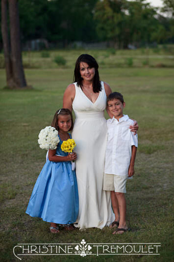 Janet & Her Children Before Walking Down the Aisle