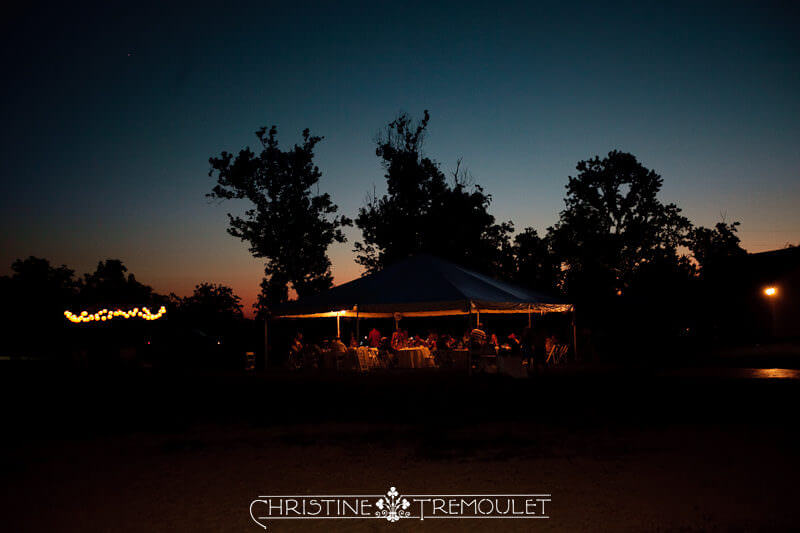 Wedding Reception under Tent at Sunset