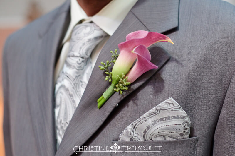 Boutonniere Purple Calla Lilies Groom Flowers