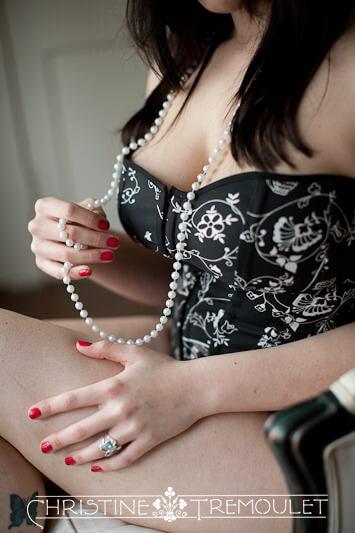 Pearl Necklace Lingerie boudoir photography