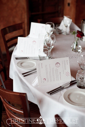 Menu cards at Byzantium for wedding breakfast