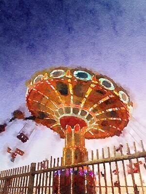 Spinning - Galveston 2013, Painted in Waterlogue