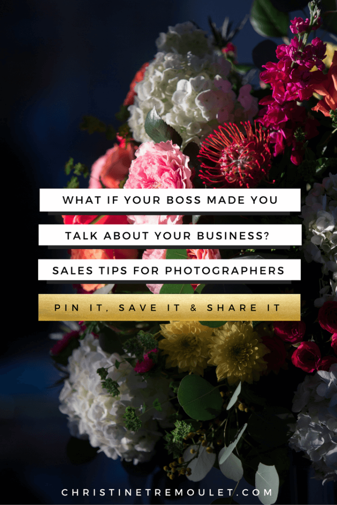 What if your boss made you talk about your business? Sales tips for professional photographers. Build Your Business Brilliantly with https://christinetremoulet.com